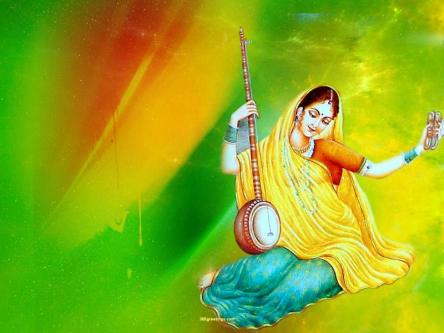 Meera with a musical instrument in her hand, lost in bhakti and devotion of her lord.