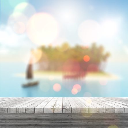 3D white wooden table looking out to a defocussed tropical lands